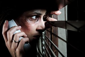Calling for help; domestic abuse concept